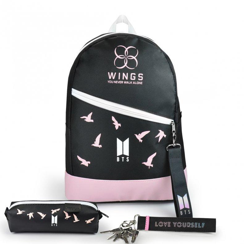 Conjunto Mochila + Estojo + Chaveiro BTS Wings