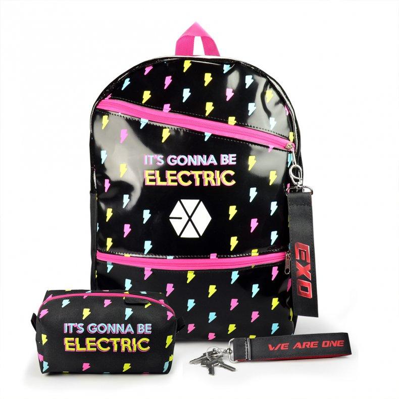 Conjunto Mochila escolar + Estojo + Chaveiro EXO Electric Kiss