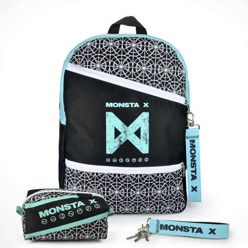 Conjunto Mochila + Estojo + Chaveiro MONSTA X