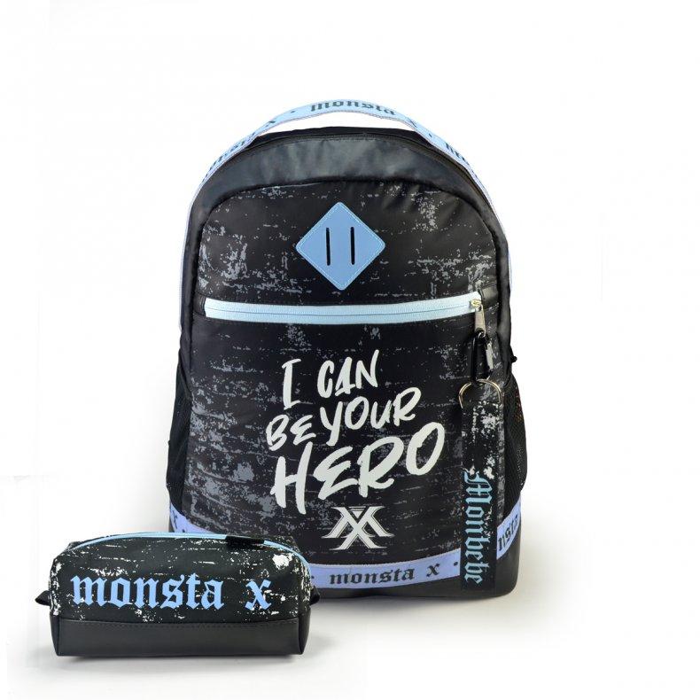 Conjunto Mochila + Estojo + Chaveiro MONSTA X - HERO