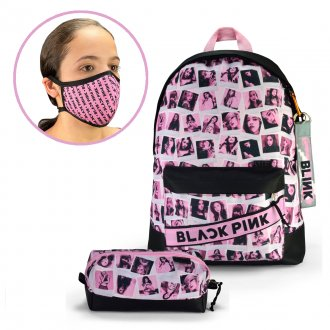 Imagem - Conjunto Máscara + Mochila + Estojo Black Pink Fotos - 85982.141
