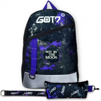 Conjunto Mochila + Estojo + Chaveiro GOT7 NOT BY THE MOON