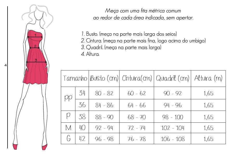 Tabela de medidas da peça