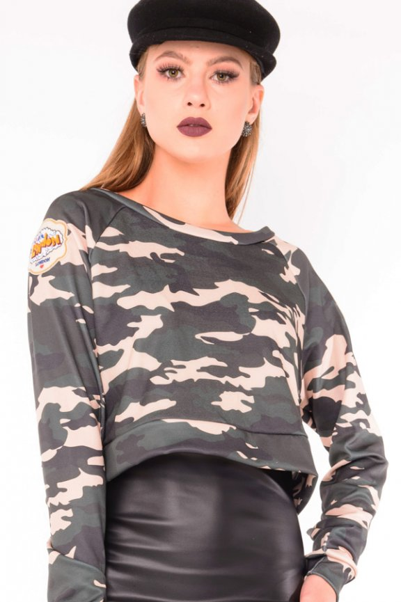 Moletom Cropped Camuflado com Patches