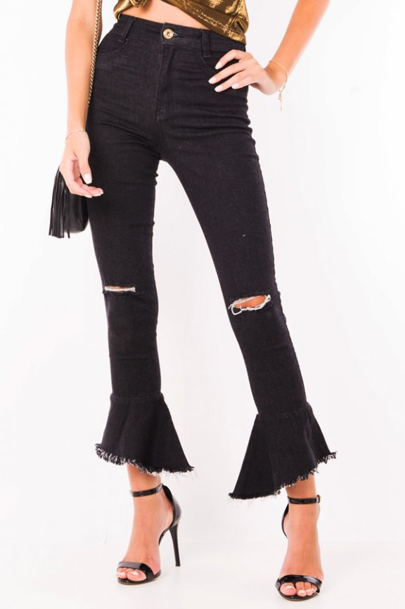 Calça Jeans Hot Pants com Babado na Barra