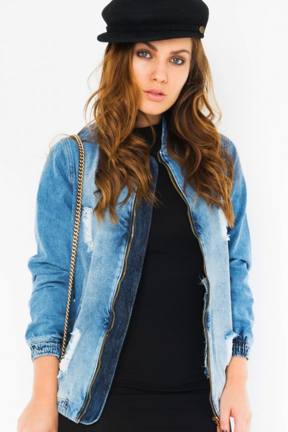 Jaqueta Bomber Jeans Destroyed
