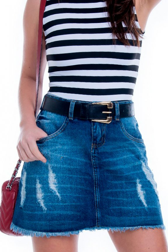 Saia Jeans A de Cintura Alta