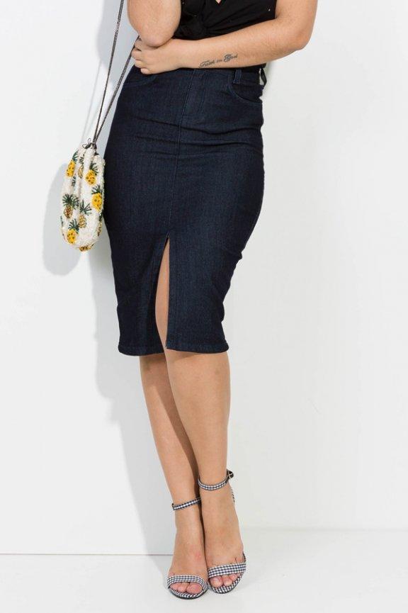 Saia Lápis Midi Jeans com Fenda