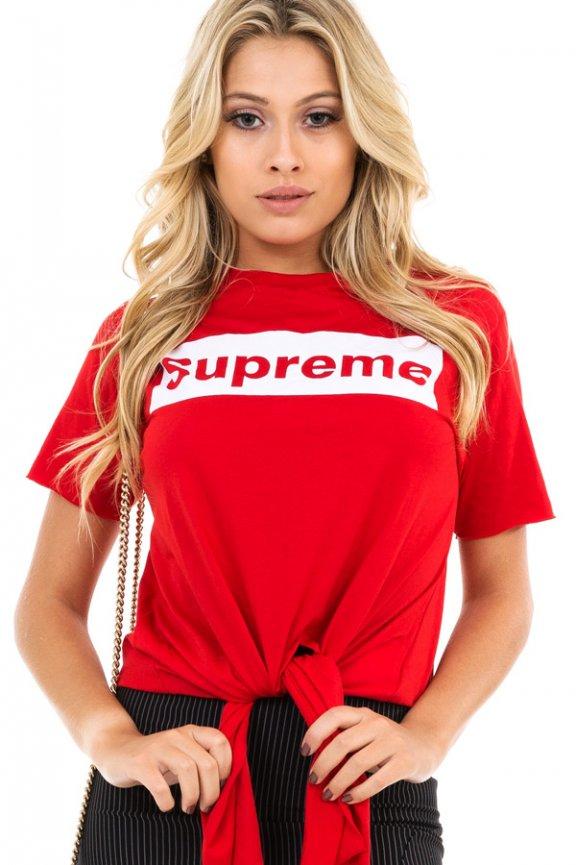 T-shirt com Lettering e Amarração Frontal