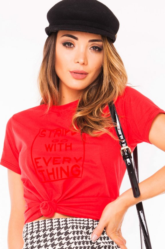 T-shirt com Lettering Frontal