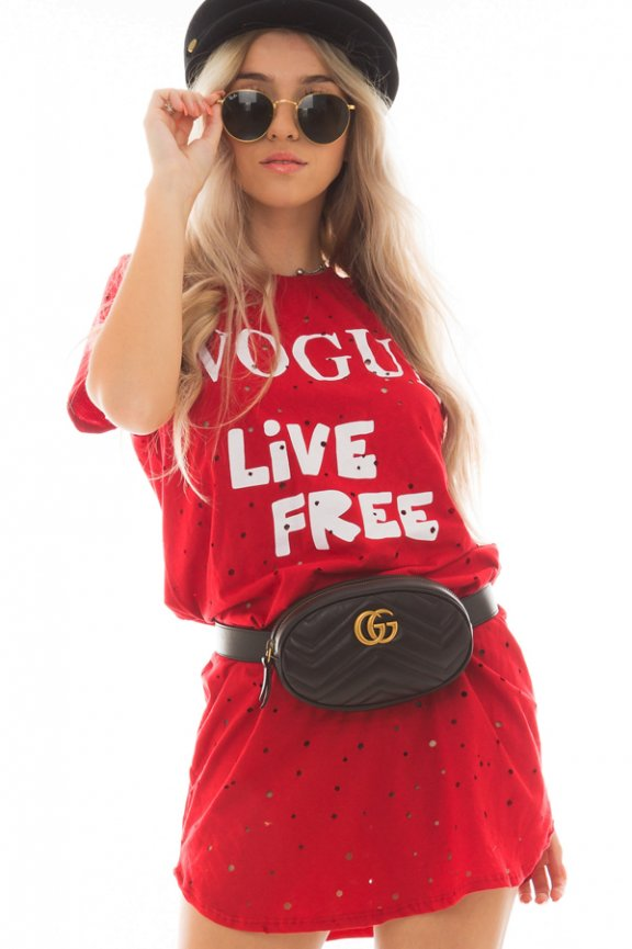 T-shirt Dress Destroyed com Lettering