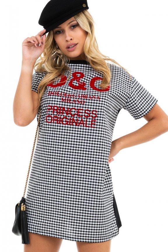 T-shirt Dress Vichy com Estampa Lettering