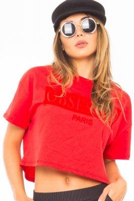 Imagem - Blusa Cropped com Estampa Frontal