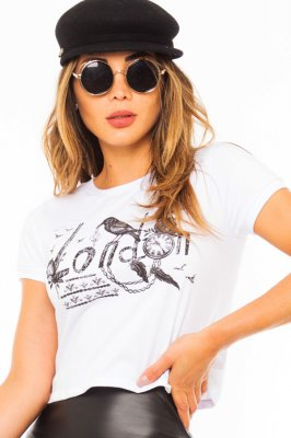 Imagem - T-shirt Cropped com Estampa Frontal