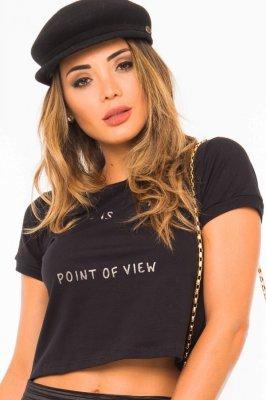 Imagem - T-shirt Cropped com Estampa Frontal