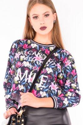 Imagem - Blusa  Cropped Estampada Floral Manga Longa