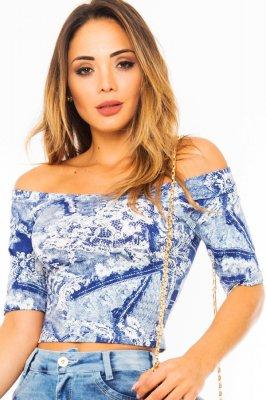 Imagem - Blusa Cropped Estampada Ombro a Ombro