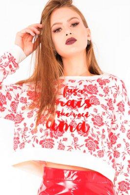 Imagem - Blusa Cropped Estampada Raglan