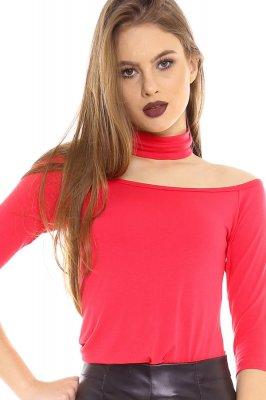Imagem - Blusa Ombro a Ombro com Gola Choker