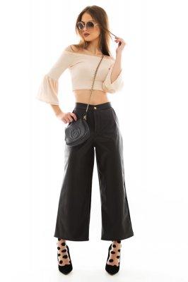 Imagem - Calça Pantalona de Courino