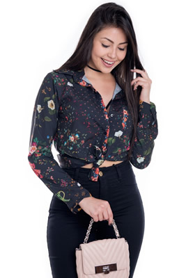 Imagem - Camisa de Viscose com Estampa Floral