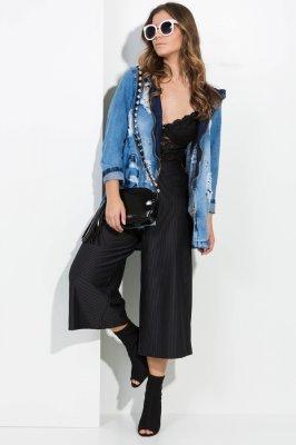 Imagem - Jaqueta Jeans Destroyed com Capuz