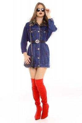 Imagem - Jaqueta Jeans Oversized com Gola de Pelo