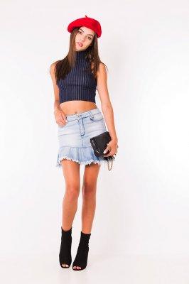 Imagem - Mini Saia Jeans com Babado