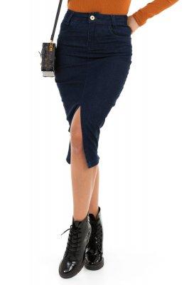Imagem - Saia Jeans Midi com Fenda na Parte Frontal