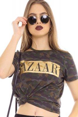 Imagem - T-shirt Camuflada com Gola Assimétrica