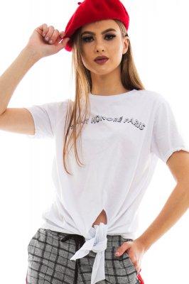 Imagem - T-shirt com Amarração Frontal e Lettering