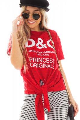 Imagem - T-shirt Destroyed com Lettering e Amarração