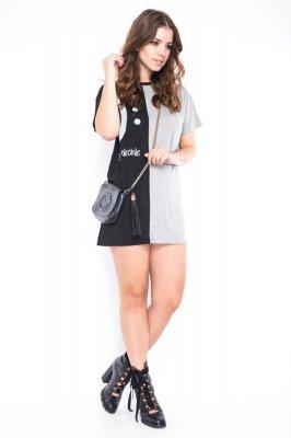 Imagem - T-shirt Dress Com Lettering