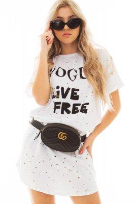 Imagem - T-shirt Dress Destroyed com Lettering