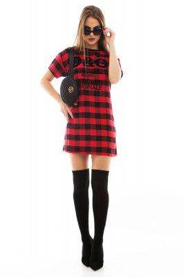Imagem - T-shirt Dress Estampado Xadrez