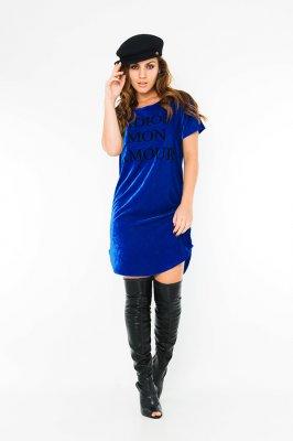 Imagem - T-shirt Dress Velvet com Lettering