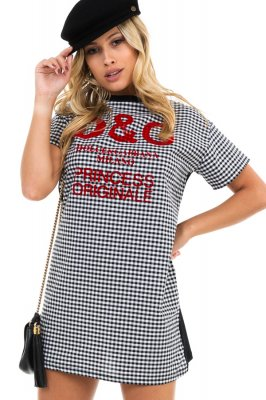 Imagem - T-shirt Dress Vichy com Estampa Lettering