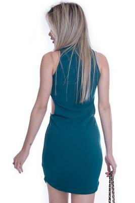 Imagem - Vestido Gola Alta com Recortes Laterais