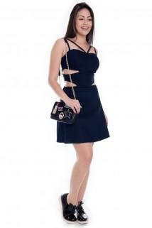 Imagem - Vestido de Alcinha Evasê com Recortes