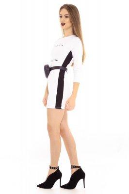 Imagem - Vestido de Bandagem com Lettering e Listra