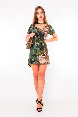 Imagem - Vestido Evasê Estampado Gola Choker