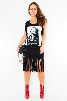 Imagem - Vestido Franjas com Estampa Frontal