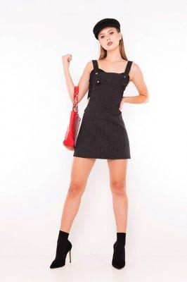 Imagem - Vestido Salopete Estampada Risca de Giz