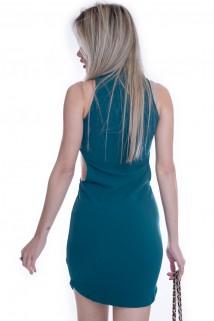 Vestido Gola Alta com Recortes Laterais