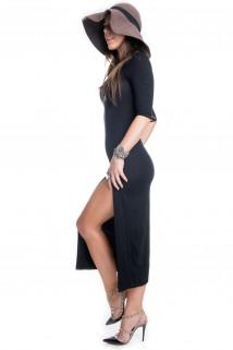 Vestido Midi com Fenda Frontal
