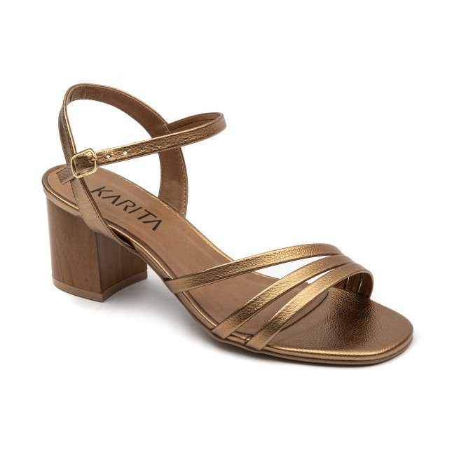Sandália Bronze Salto Bloco Tiras