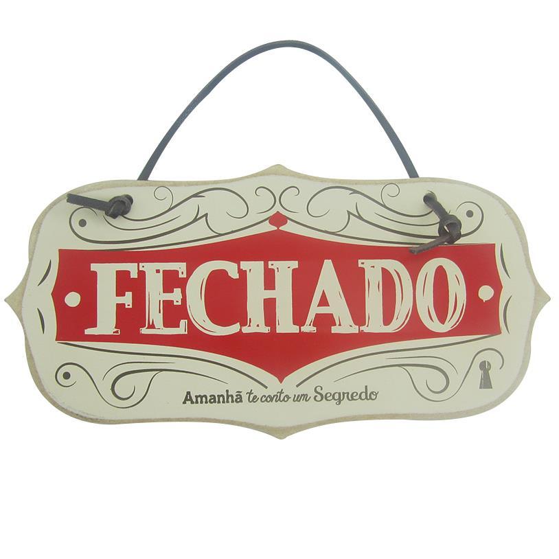 PLACA ABERTO, FECHADO 25X13CM