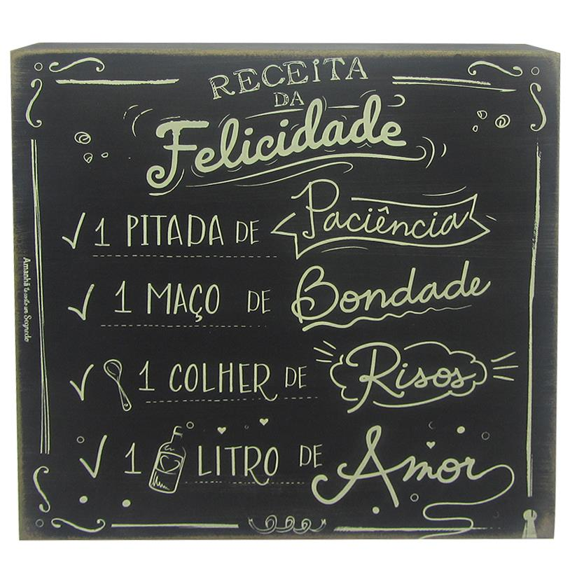 QUADRO BOX RECEITA DA FELICIDADE 25X25CM