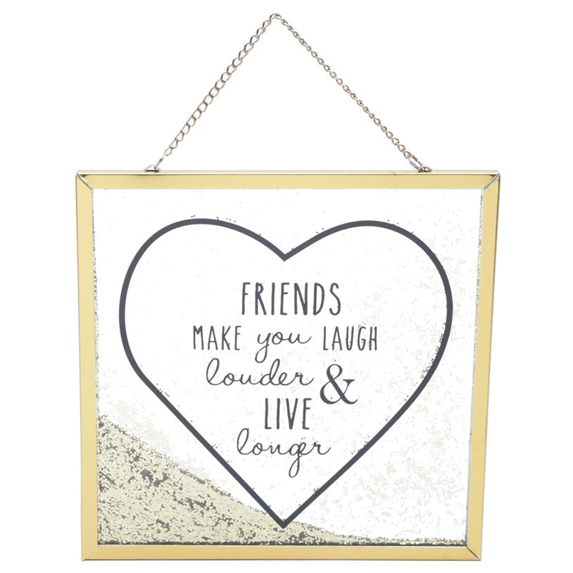 PLACA GLITTER FRIENDS BIG HEART 20X20CM