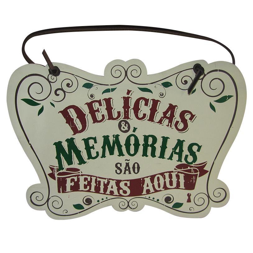 Imagem - PLACA PORTA DELÍCIAS E MEMORIAS 25X18CM cód: 35455